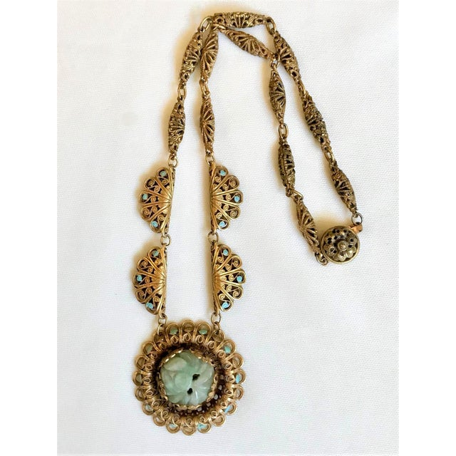 1930s Carved Jade and Enameled Brass Necklace For Sale In Los Angeles - Image 6 of 6