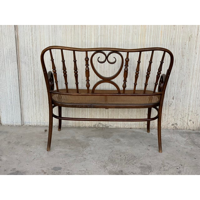 1940s 20th Century Bentwood Sofa in the Thonet Style, Circa 1925, Caned Seat For Sale - Image 5 of 10