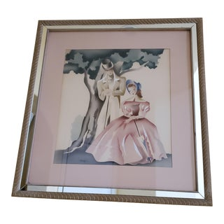 """Vintage Mid 20th Century Watercolor by Artist Benjamin J Harris and Signed """"Harris"""" For Sale"""