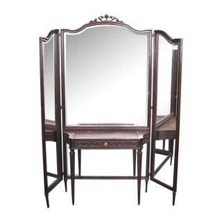 French Tri Fold Mirror & Wood Vanity Table For Sale