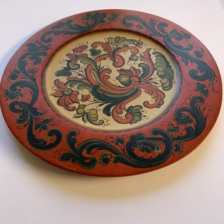 Folk Art Tole Painted Wooden Serving Plate Preview