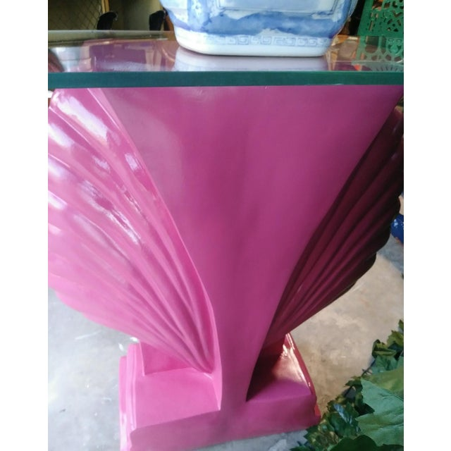 Glass Clam Shell Bright Pink Palm Beach Regency Console Table Base Grosfeld House Style For Sale - Image 7 of 11