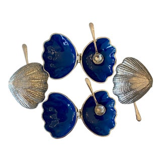 Silver Plate and Blue Enamel Salt Cellars With Spoons - Set of 4 For Sale