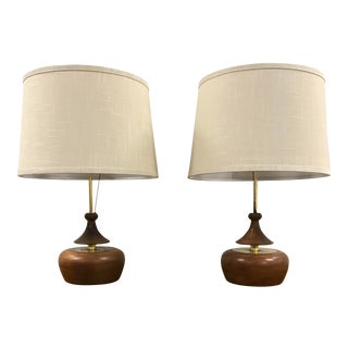 1960s Mid Century Modern Modeline Brass and Walnut Lamps - a Pair For Sale