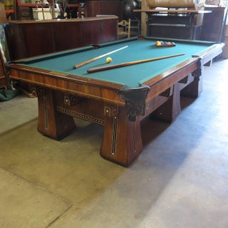 1915 Brunswick Arcade Pool Table With Rare Six-Legged Base Preview