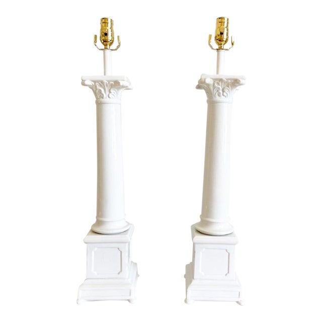 1950s Italian Porcelain Column Lamps - a Pair For Sale