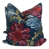 """Image of Nina Campbell """"Coromandel"""" in Blue/Red/Neutral 22"""" Pillows-A Pair For Sale"""