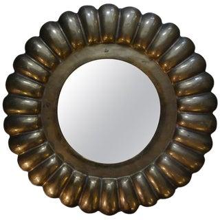 Italian Mid-Century Round Brass Mirror For Sale