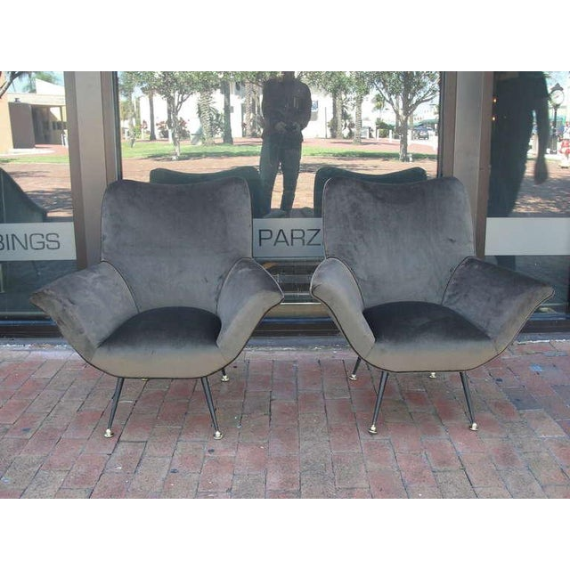 Pair of Italian Open-Arm Chairs For Sale - Image 4 of 7