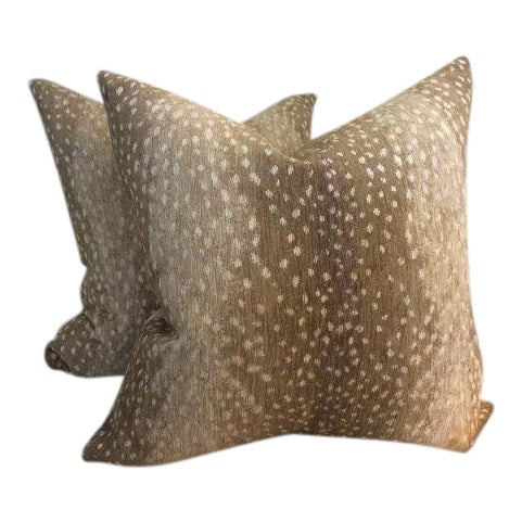 Antelope Chenille Pillows - a Pair For Sale
