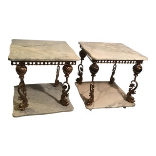 Hollywood Regency Brass and Marble Dolphin End Tables - a Pair For Sale