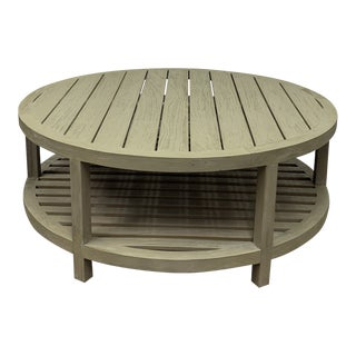 Janis Et Cie Arbor Cocktail Table Round Weathered Teak For Sale