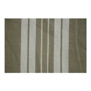 Antique French Ticking Striped Khaki And White Fabric For Sale