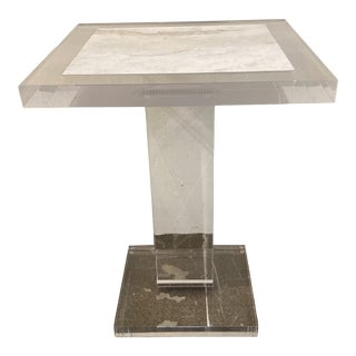 Modern Marble Inlaid Lucite Side Table For Sale