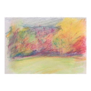 1980s Impressionist Autumn Pastel Landscape Drawing by Inga-Britta Mills For Sale