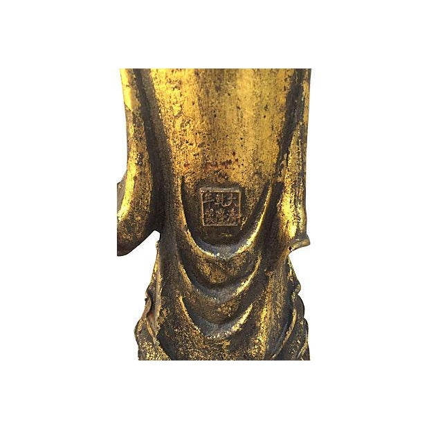 Gold Quan Yin on Lotus Cast Iron Statue For Sale - Image 8 of 9