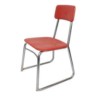 Mid Century Modern Heywood Wakefield Children's Red Chrome School Chair For Sale