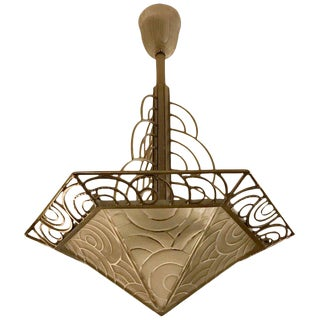 French Art Deco Chandelier by Pierre D'avesn For Sale