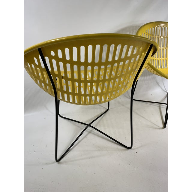 Yellow Mid Century Howard Johnson Hotel Yellow Solar Lounge Chairs- a Pair For Sale - Image 8 of 11