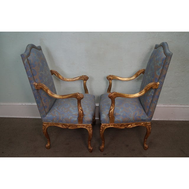 French Louis XV Style Carved Gilt Arm Chairs - A Pair - Image 5 of 10