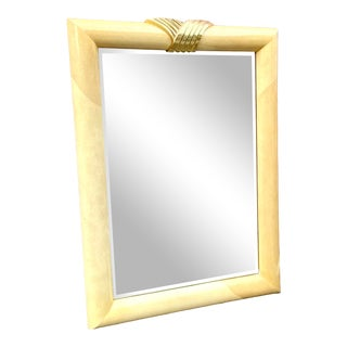 Contemporary Faux Goatskin and Brass Lacquered Mirror For Sale