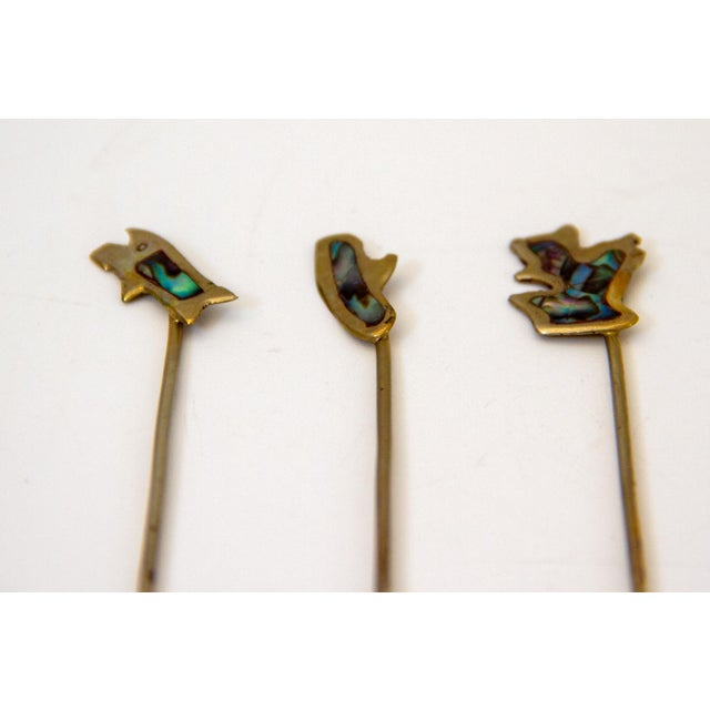 Mid 20th Century Sterling and Abalone Cocktail Forks - Set of 11 For Sale - Image 5 of 9