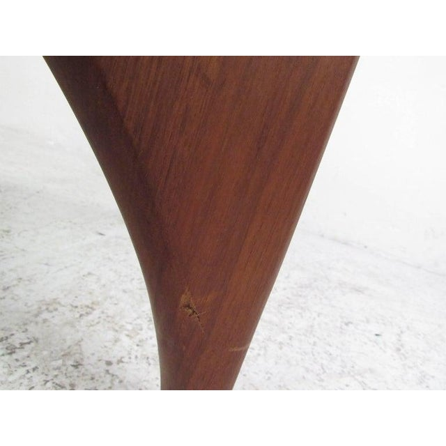 1970s Mid-Century Modern Noguchi Style Triangular Glass Top Coffee Table For Sale - Image 5 of 9