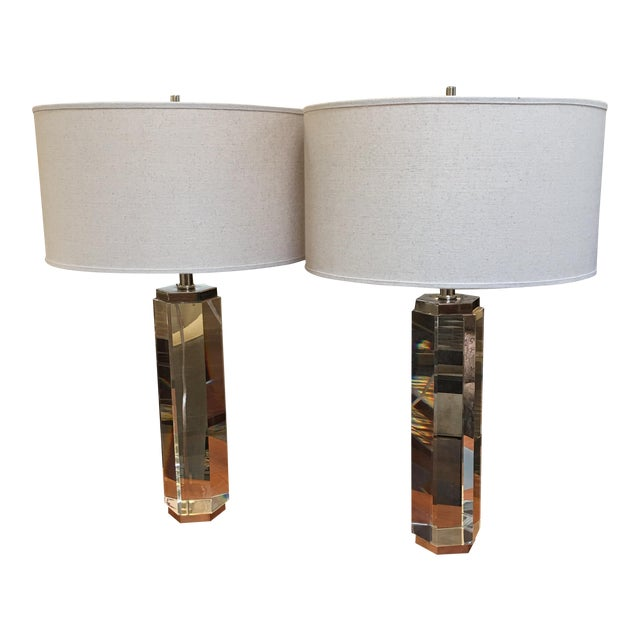 Restoration Hardware Hexagonal Column Crystal Table Lamps- A Pair - Image 1 of 9