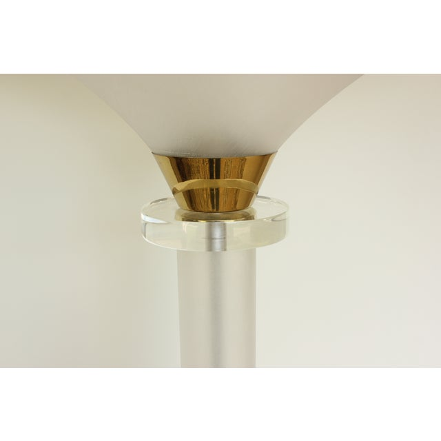 Brushed Lucite and Brass Floor Lamp - Image 6 of 6