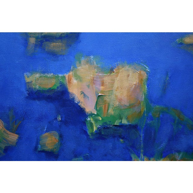 """Blue Contemporary Landscape Painting by Stephen Remick """"Autumn at the Marsh"""" For Sale - Image 8 of 13"""