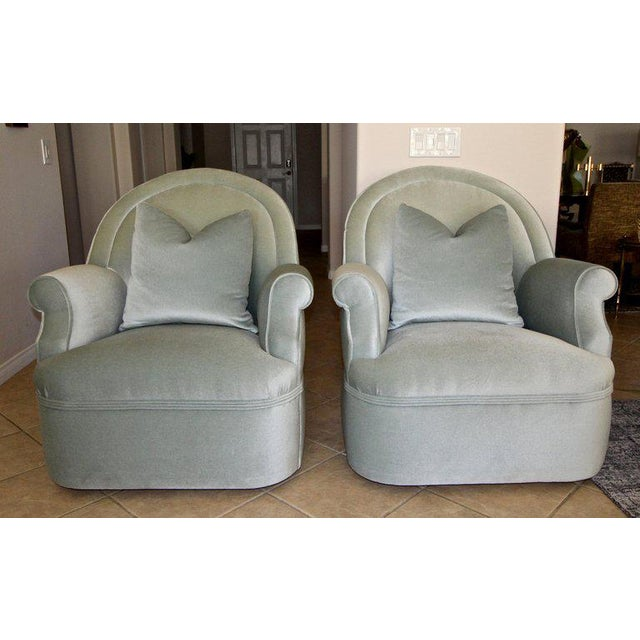 2010s Pair of Custom Mohair Seafoam Green Lounge Club Chairs For Sale - Image 5 of 13