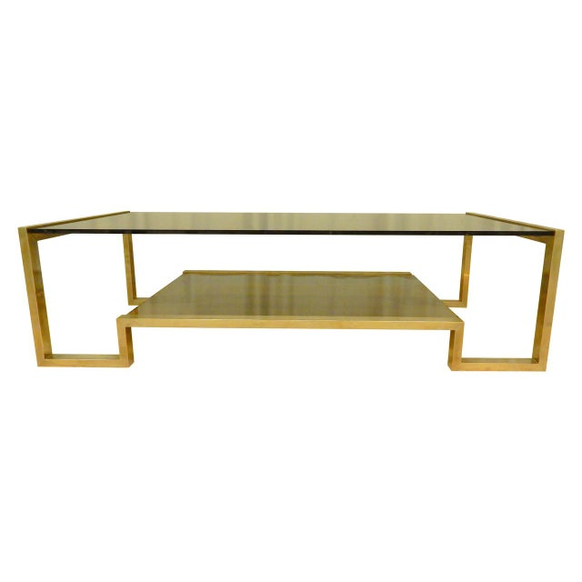 Brass Guy Lefevre' Mid-Century Coffee Table For Sale - Image 7 of 7