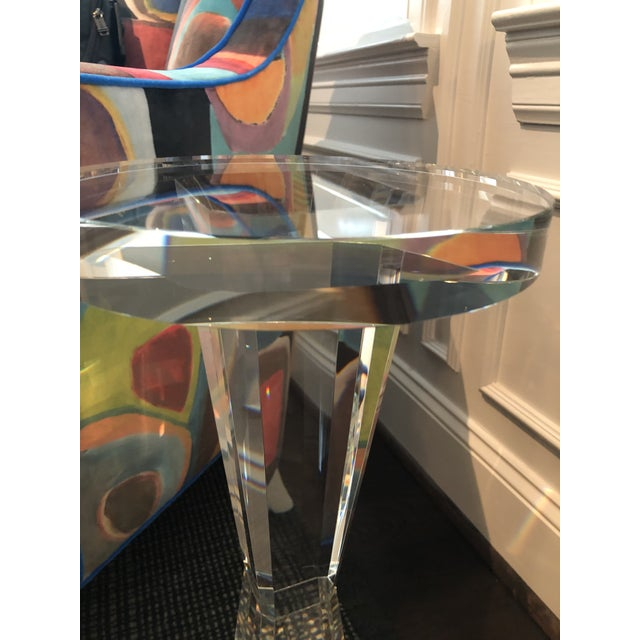 Glass Contemporary Solid Crystal Side Table For Sale - Image 7 of 8