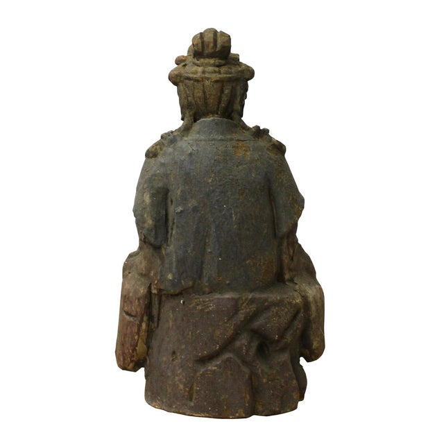Chinese Rustic Wood Sitting Kwan Yin Statue For Sale - Image 4 of 6