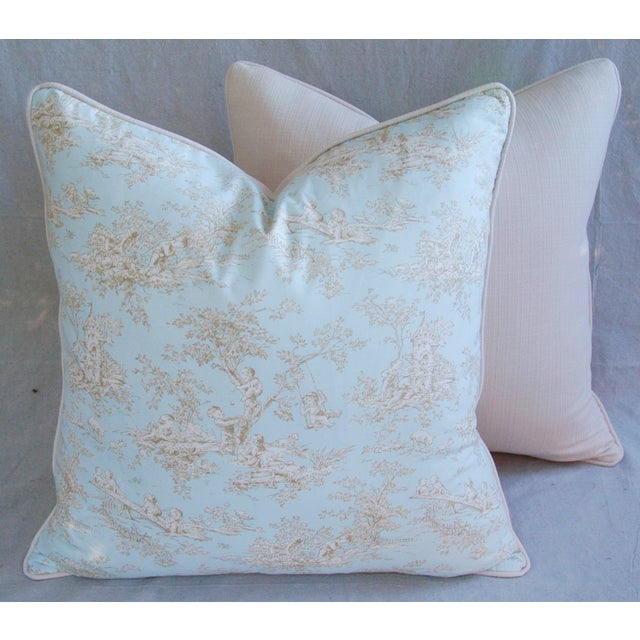 Designer French Blue & White Toile Pillows - Pair - Image 6 of 8