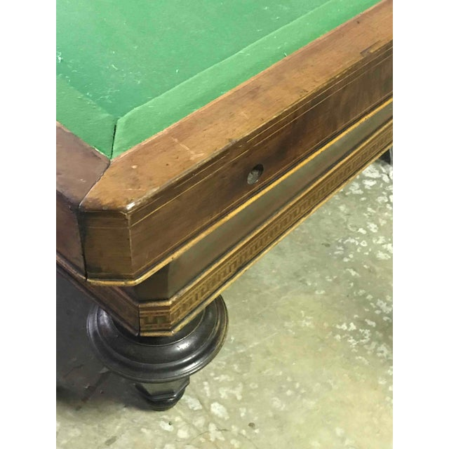 1860s Italian Carom Mahogany Billiard Table With Inlay For Sale - Image 10 of 12