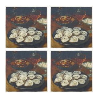 Oysters Dinner Napkins - Set of 4 For Sale