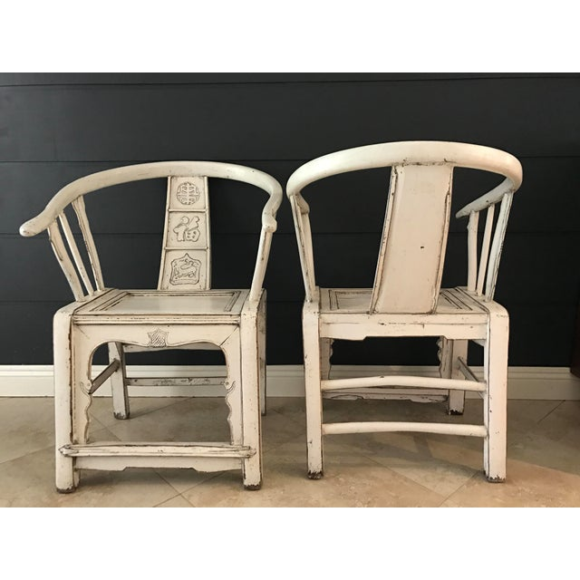 White Ming Side Chairs - A Pair - Image 6 of 8