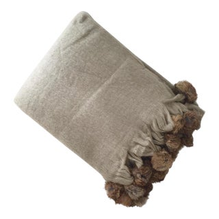 Rabbit Fur Trim Beige Mohair Throw Blanket