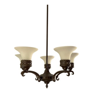 Restoration Hardware Bronze Chandelier with Frosted Glass Shades For Sale