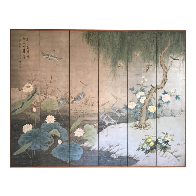 Chinoiserie 6 Panel Folding Screen, Silver Leaf and Hand Painted With Spring Imagery of Birds, Lotus, Willow For Sale