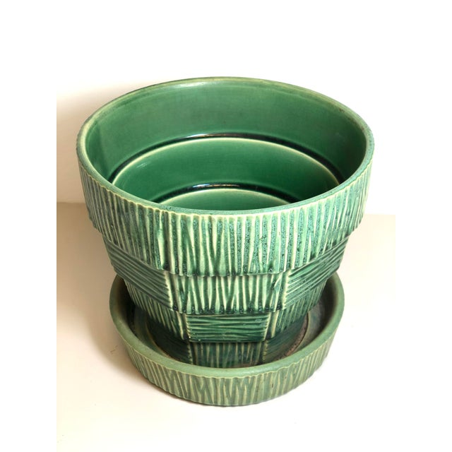 """McCoy Pottery 1940s – 1960s """"Green"""" Mid Century Flowerpot And Attached Saucer Bark Basket Weave Design, Large, Green glaze..."""