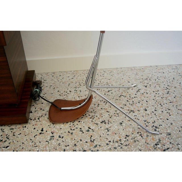 Art Deco Chrome and Leather Floor Lamp For Sale - Image 3 of 12