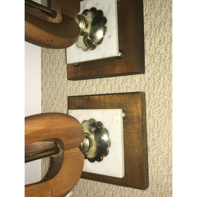 1970s Mid-Century Modern Wood Table Lamps - A Pair For Sale - Image 5 of 7