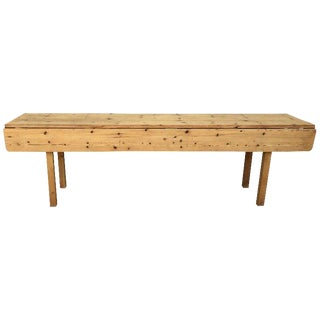 20th Century Midcentury Large Pine Drop-Leaf Country Farm Table With Two Leaves For Sale