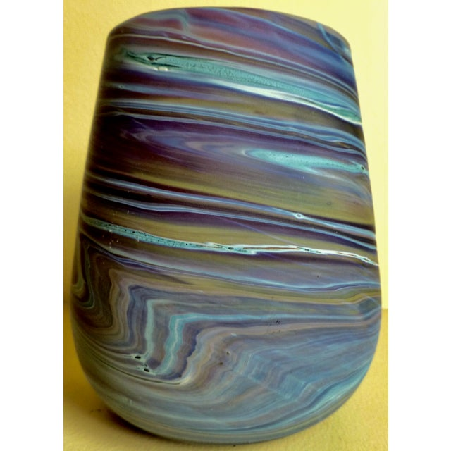 Mid century studio glass vase, this one is in a beautiful swirl glass pattern. At first glance, it's an exact look-a-like...