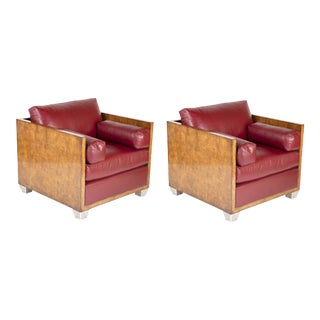 Vintage Therien Studio Workshops Custom Made Art Deco Style Club Chairs - a Pair For Sale