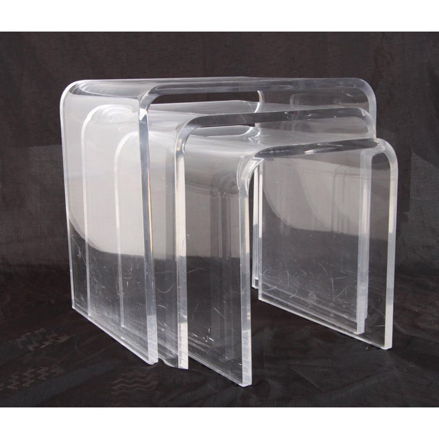 Shlomi Haziza Lucite Nesting Tables - Set of 3 For Sale - Image 12 of 12
