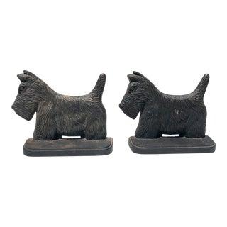 Vintage Cast Iron Black Scottie Dog Bookends - a Pair For Sale