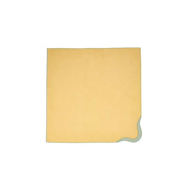Contemporary Moda Domus x Chairish Exclusive Scalloped Linen Placemat + Napkin Colorblock Set For Sale - Image 3 of 9
